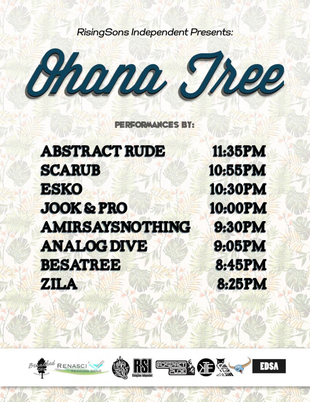 Set times for Ohana Tree with Scarub