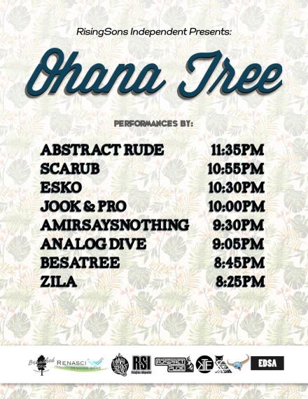 Set times for Ohana Tree with Scarub